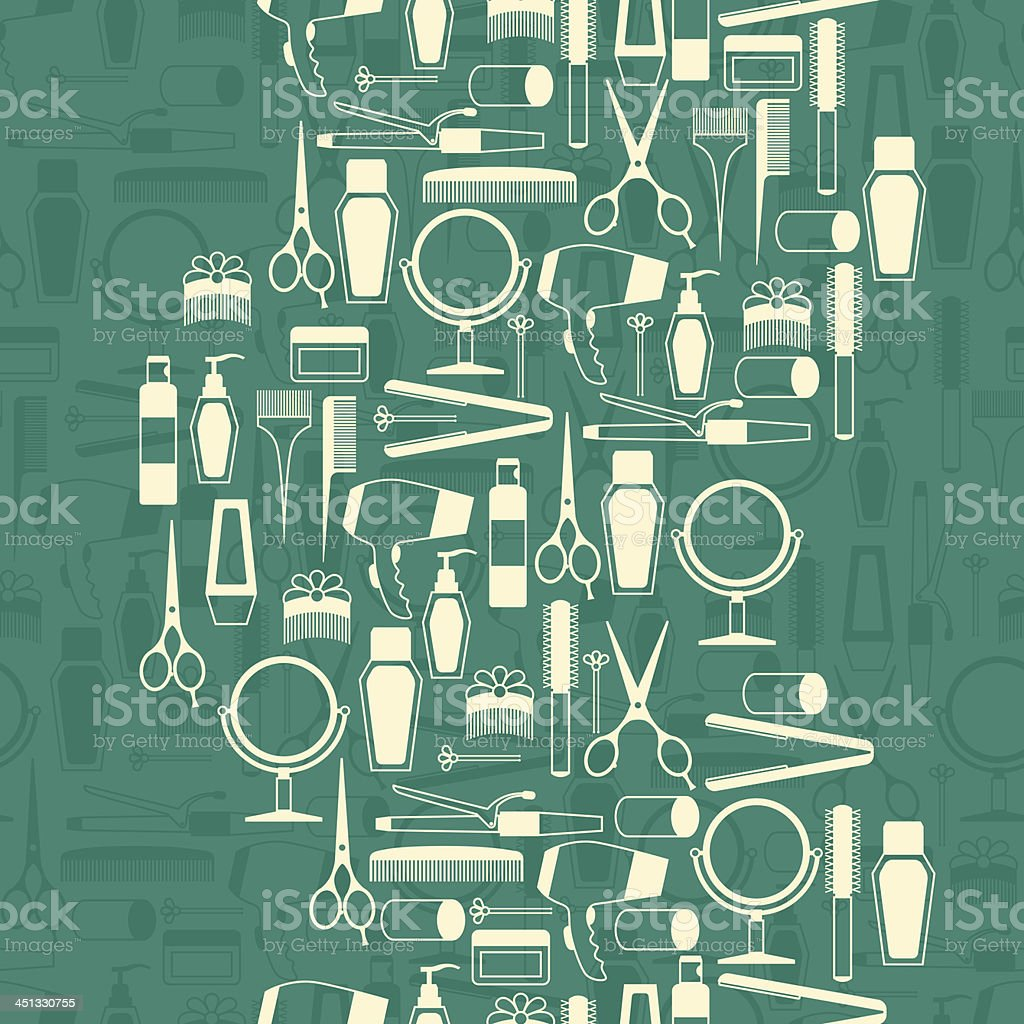 Hairdressing tools seamless pattern in retro style. royalty-free stock vector art