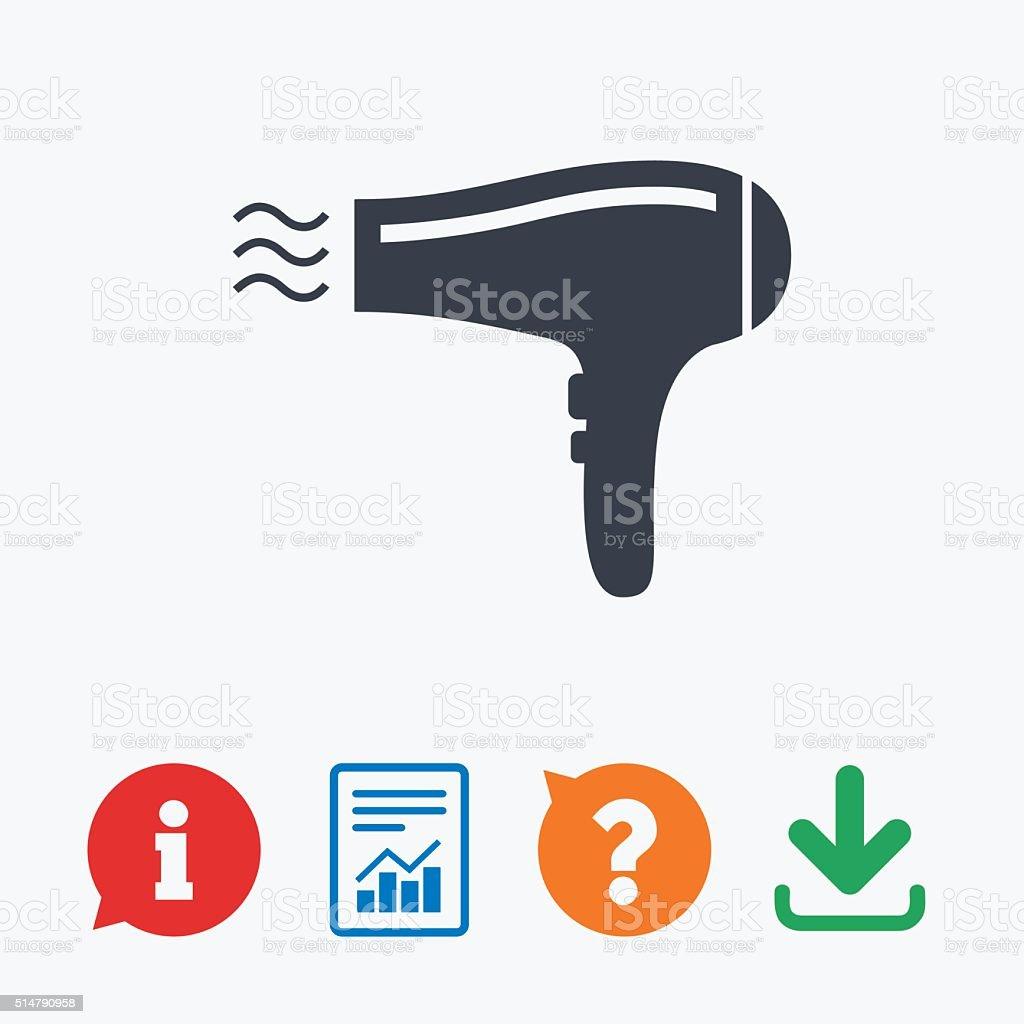 Hairdryer sign icon. Hair drying symbol. vector art illustration