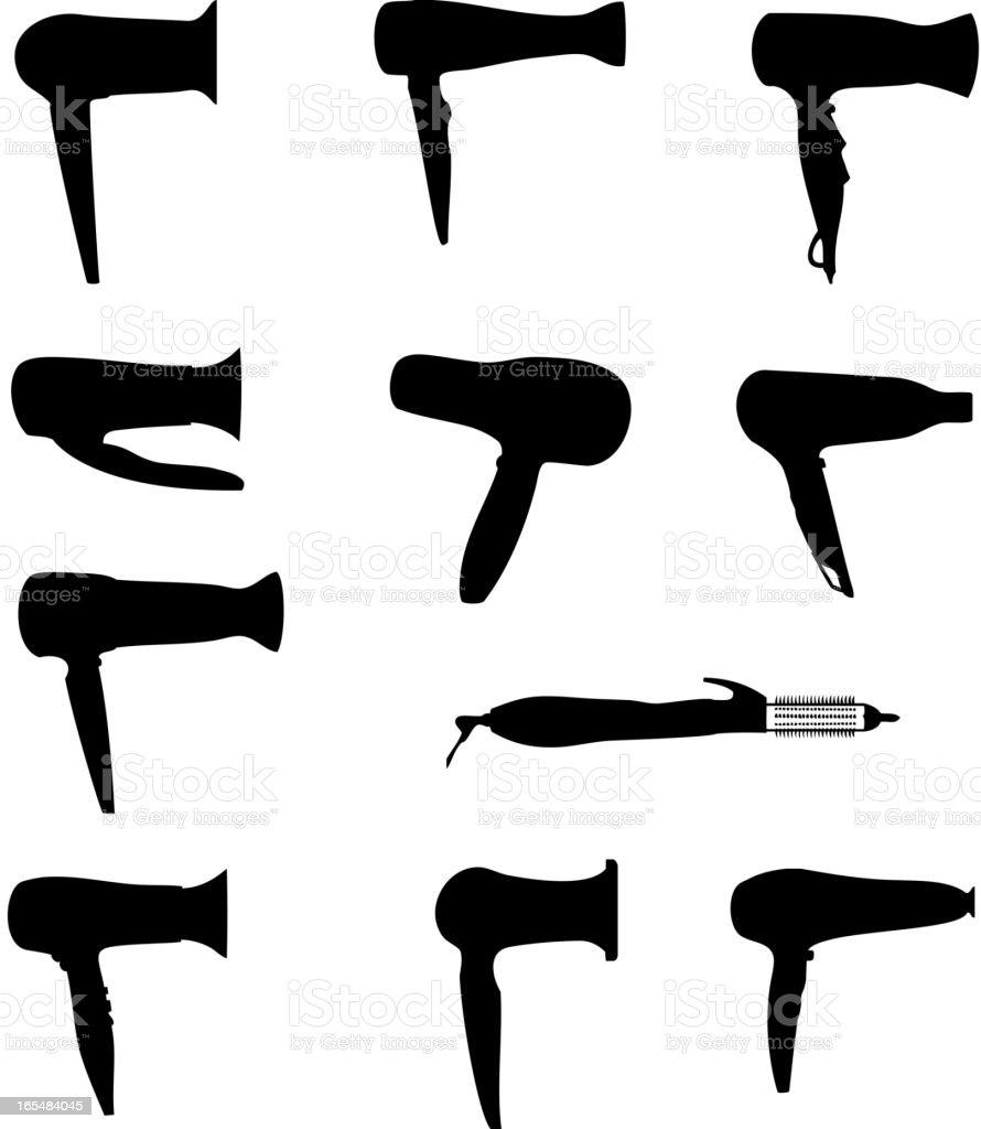 hairdryers silhouettes vector illustration vector art illustration