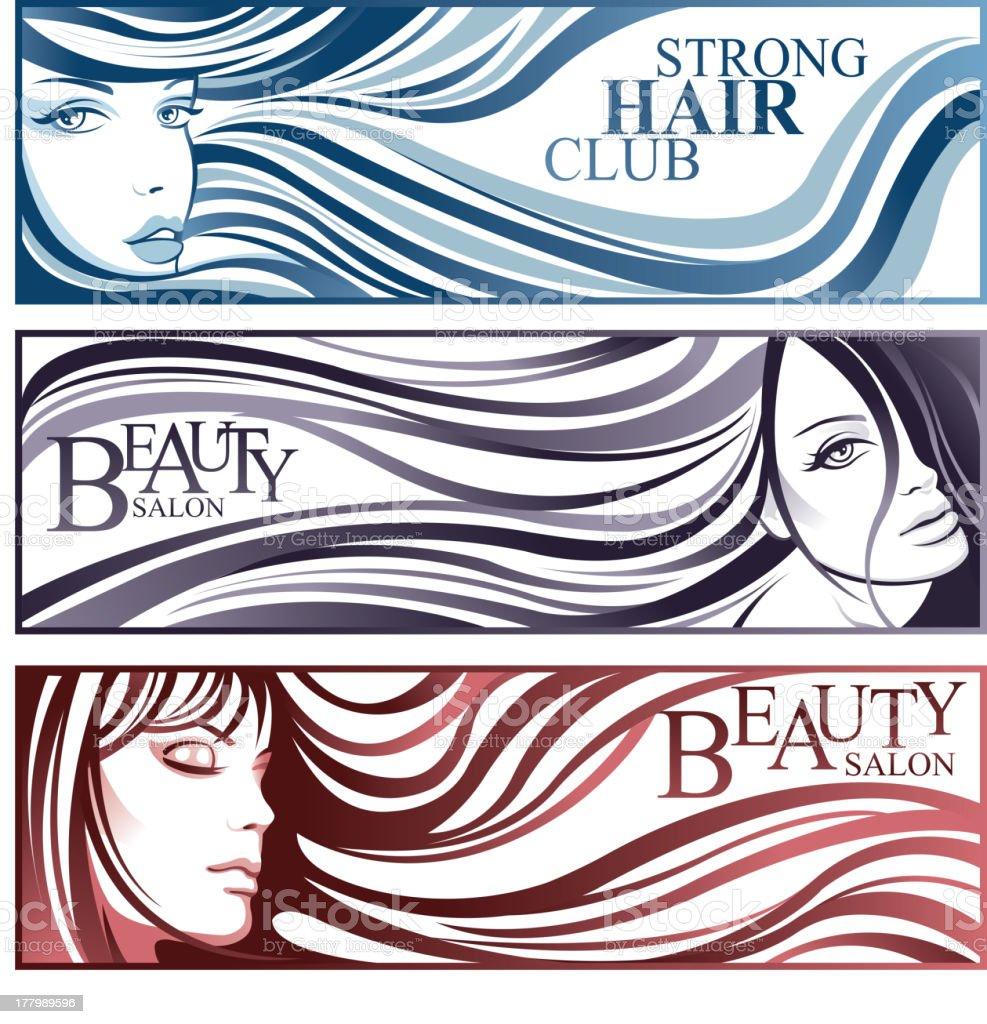 Hairstyle girls vector art illustration