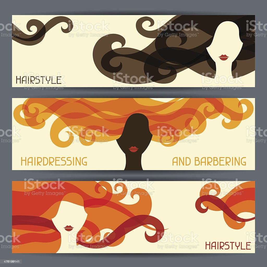 Hairstyle horizontal banners. royalty-free stock vector art