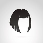 Hairstyle icon isolated on white background.