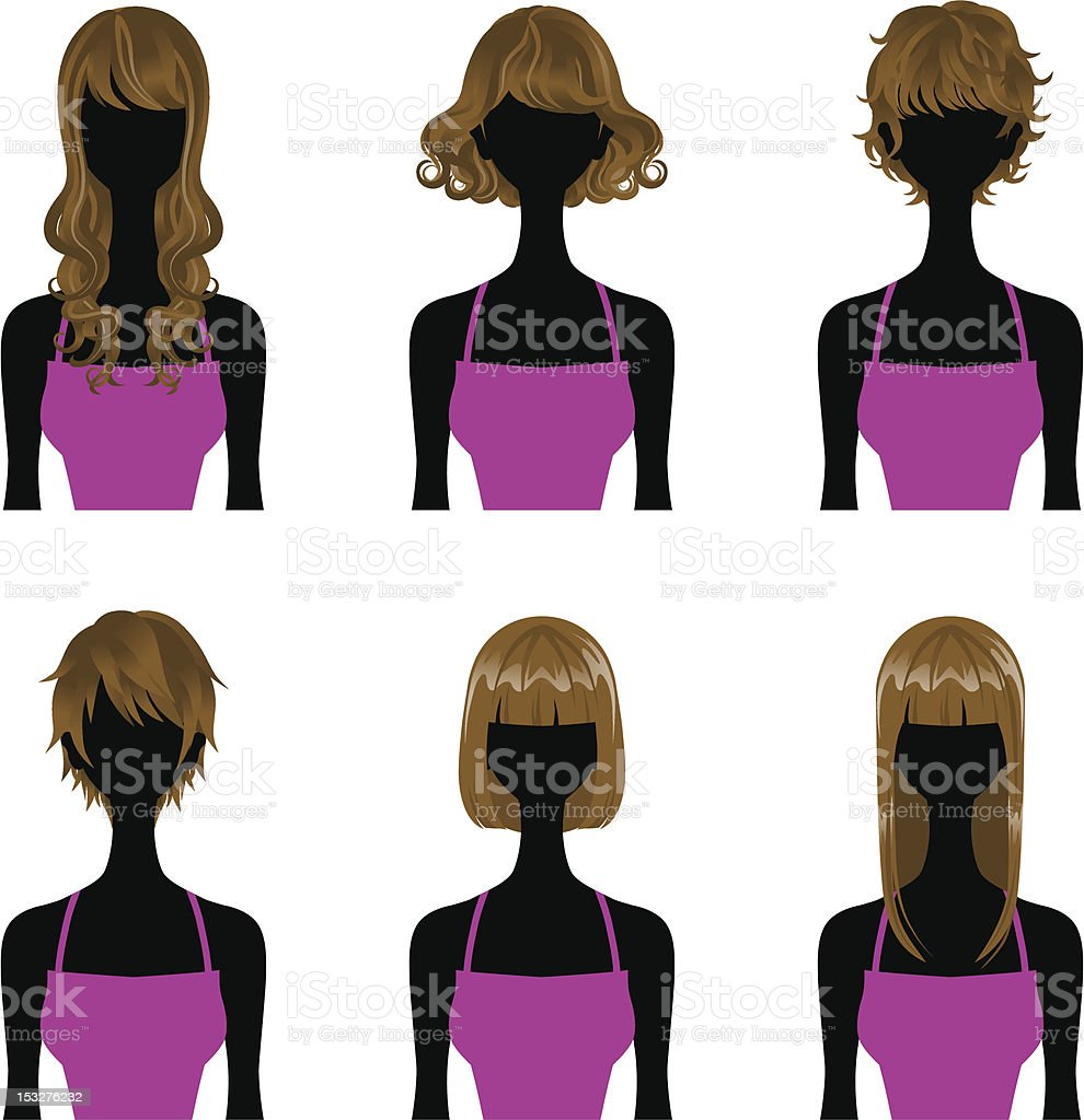 Hairstyle set vector art illustration