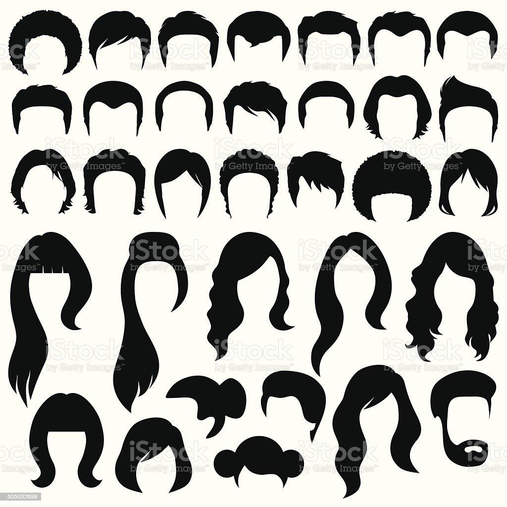 hairstyle vector art illustration