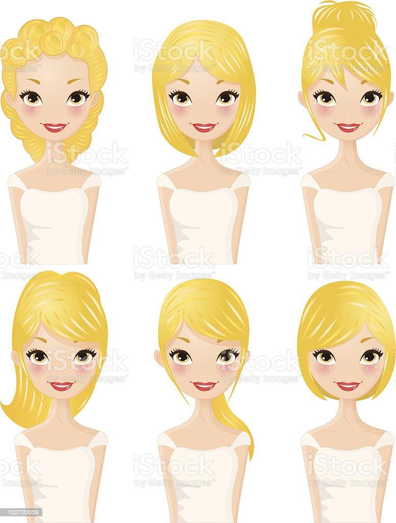 Hairstyles Blond hair vector art illustration