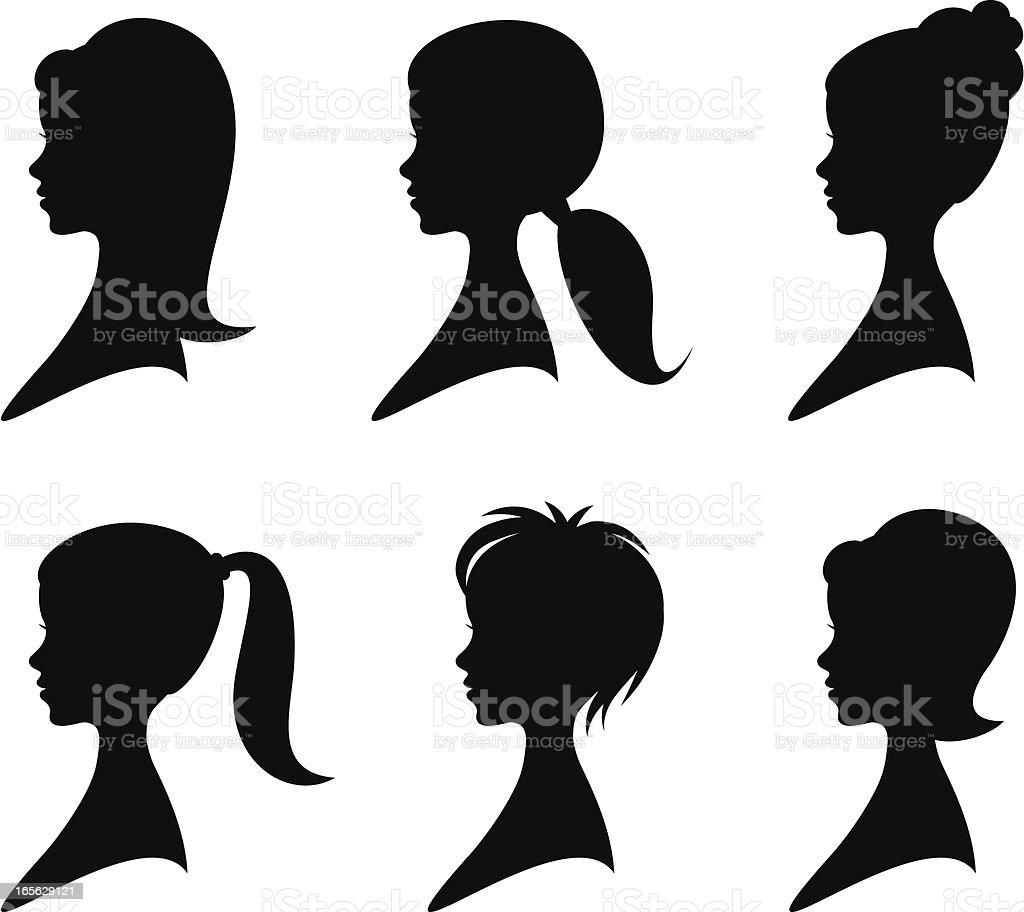 Hairstyles vector art illustration