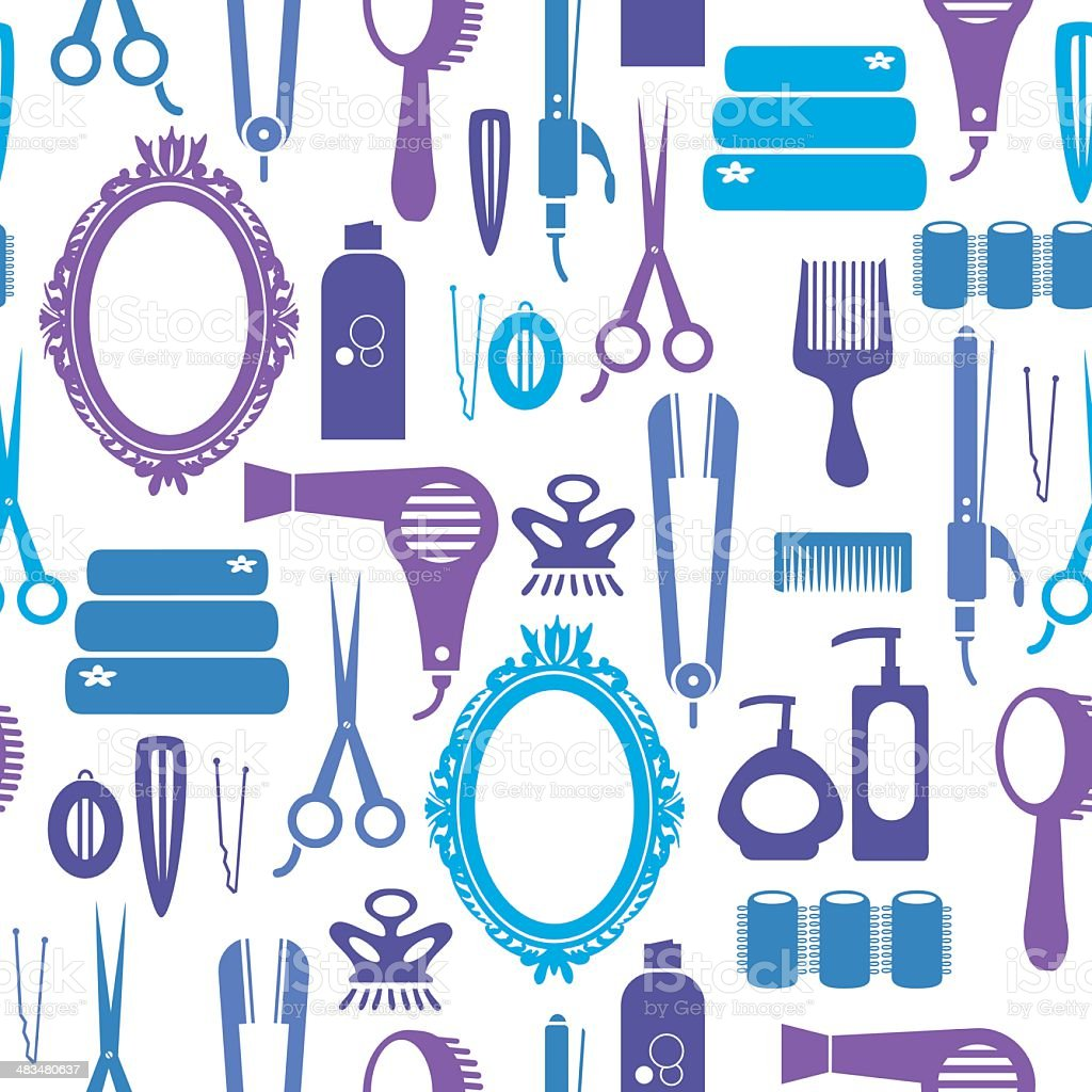 Hairstyling Repeat Pattern vector art illustration