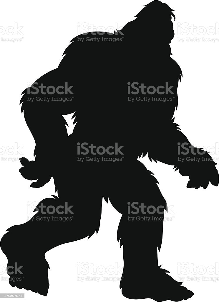 hairy bigfoot silhouette vector art illustration