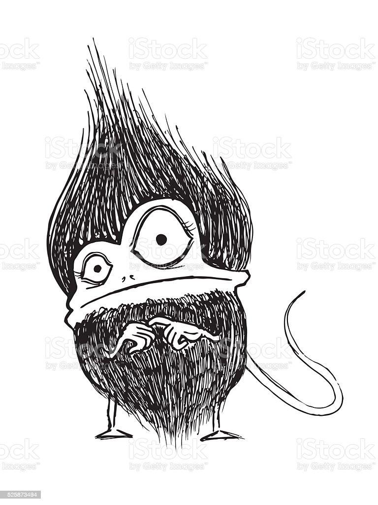 Hairy furry monster vector art illustration