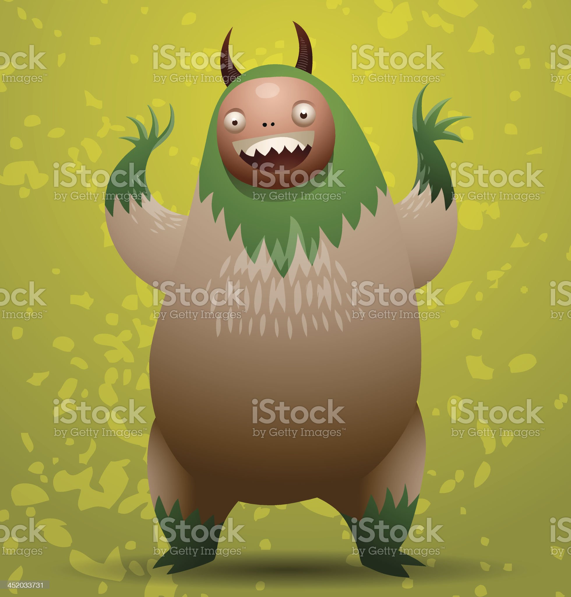 Hairy monster with green mane royalty-free stock vector art