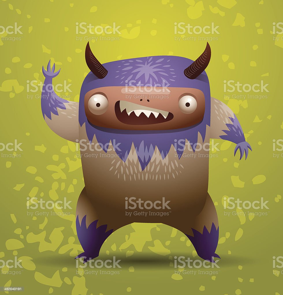 Hairy monster with purple mane royalty-free stock vector art