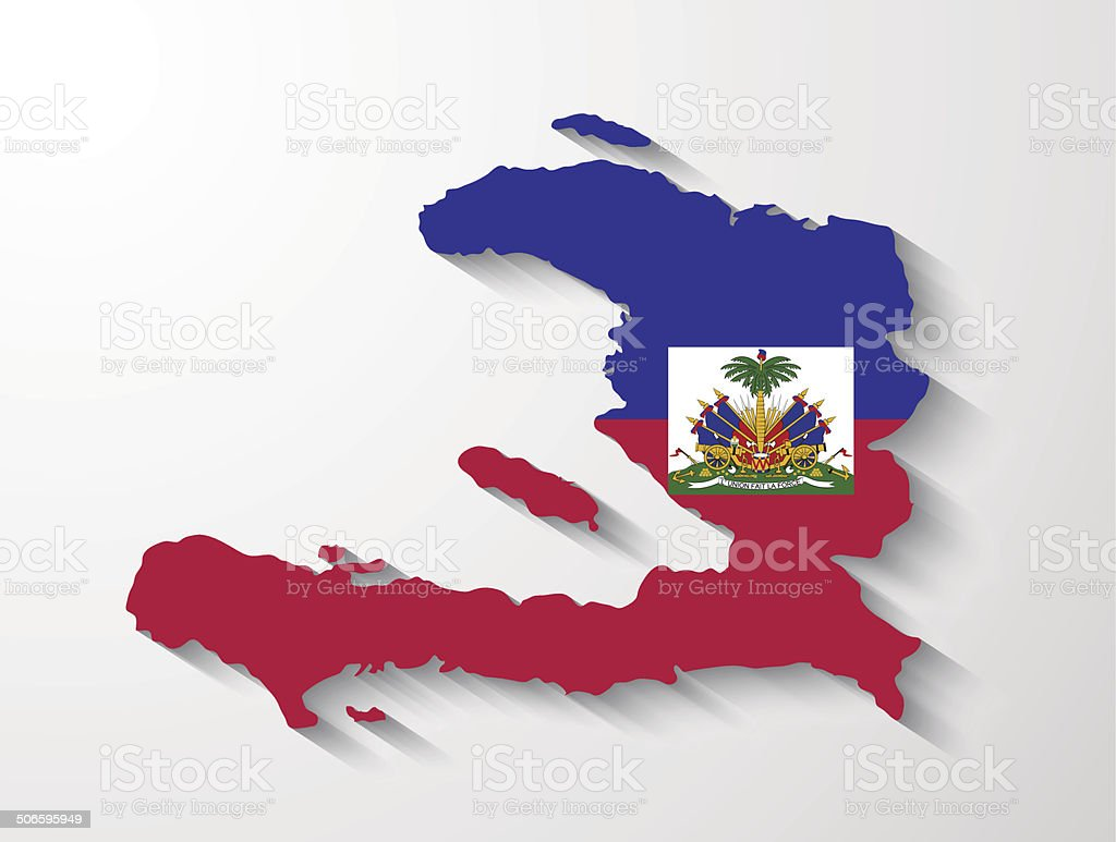 Haiti  country map with shadow effect presentation vector art illustration