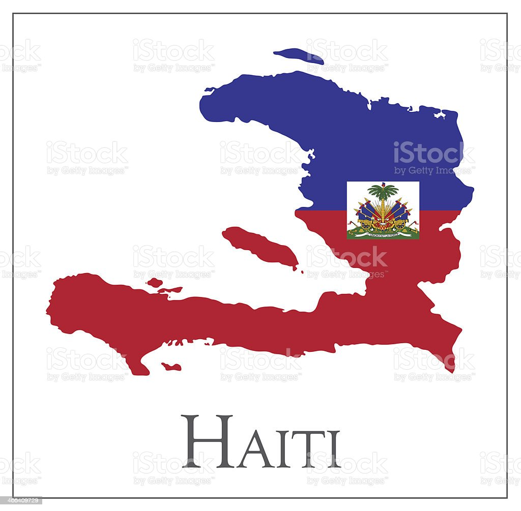 Haiti flag map vector art illustration