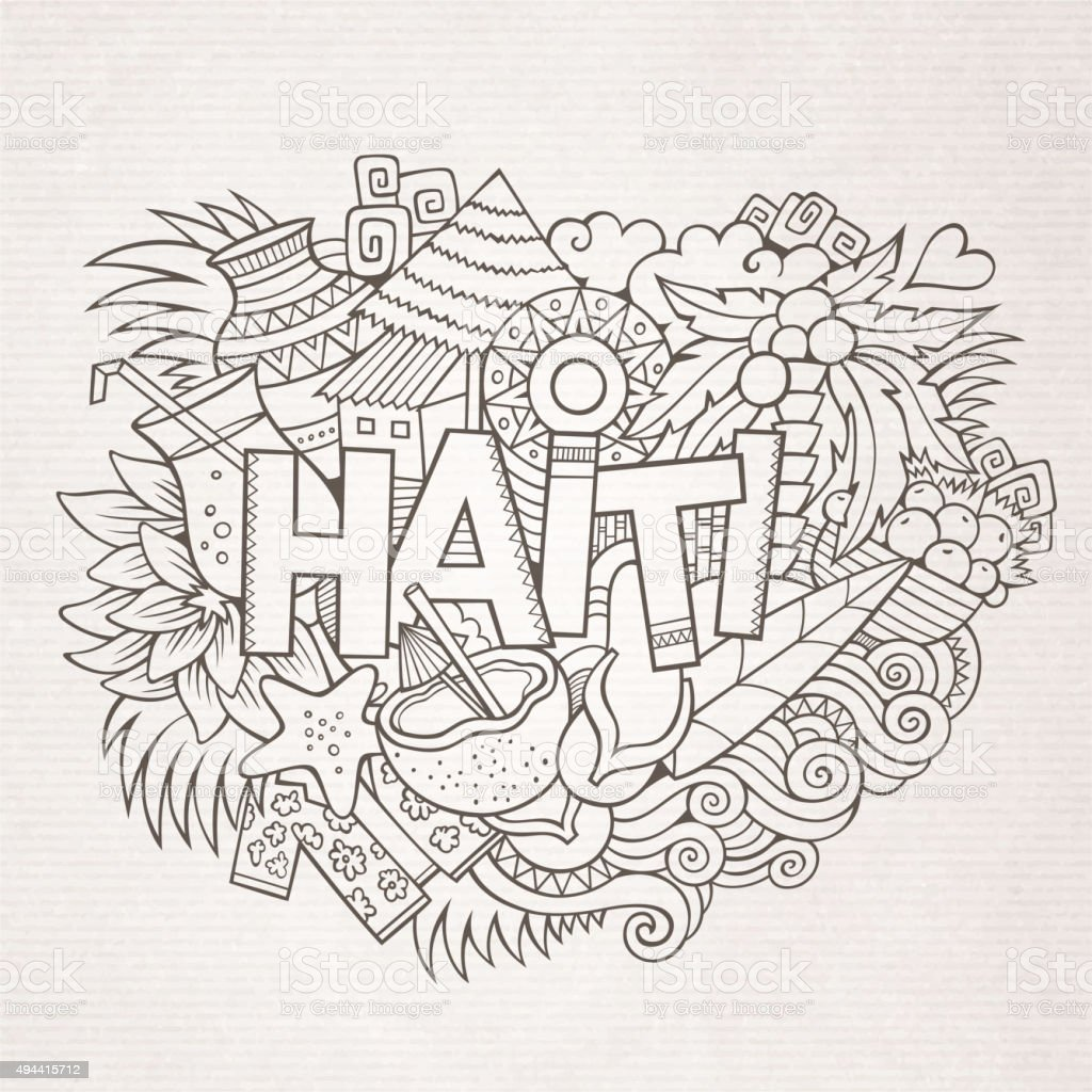 Haiti hand lettering and doodles elements and symbols background vector art illustration