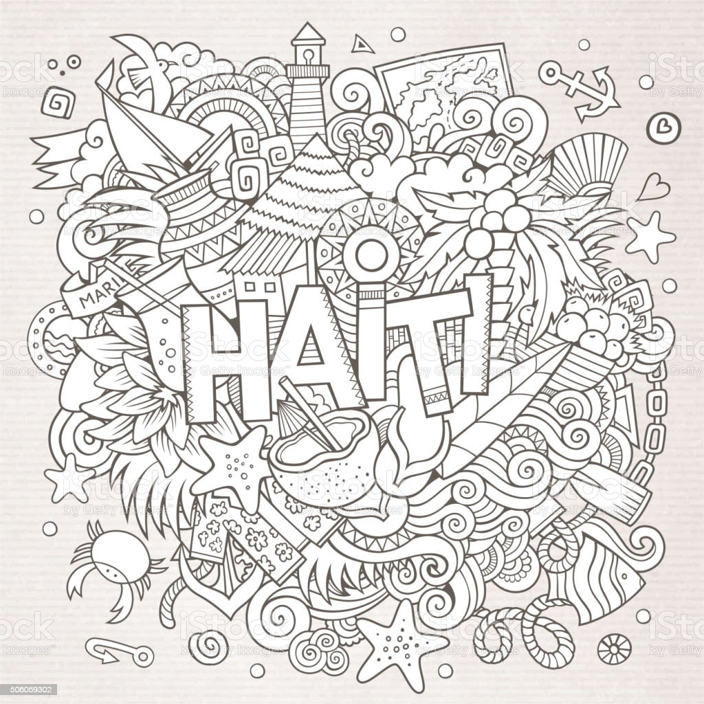 Haiti hand lettering and doodles elements background vector art illustration