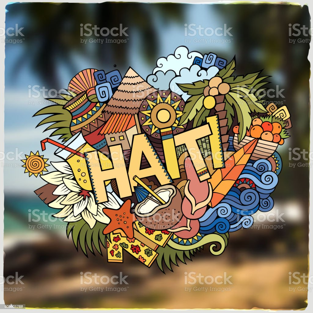 Haiti hand lettering and doodles elements emblem vector art illustration