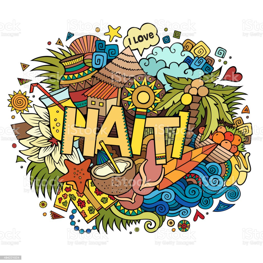 Haiti hand lettering and doodles elements vector art illustration
