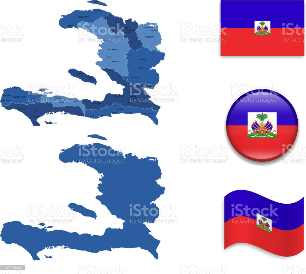 Haiti Map and Flag Collection vector art illustration