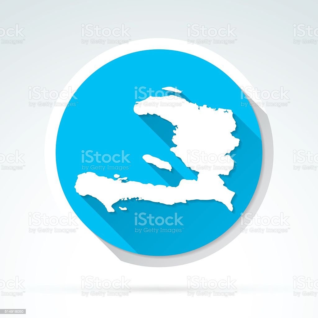 Haiti map icon, Flat Design, Long Shadow vector art illustration