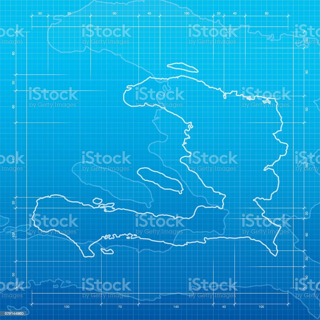 Haiti map on blueprint background vector art illustration