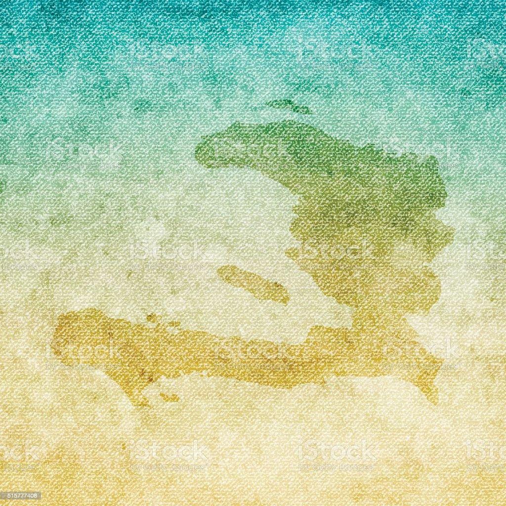 Haiti Map on grunge Canvas Background vector art illustration