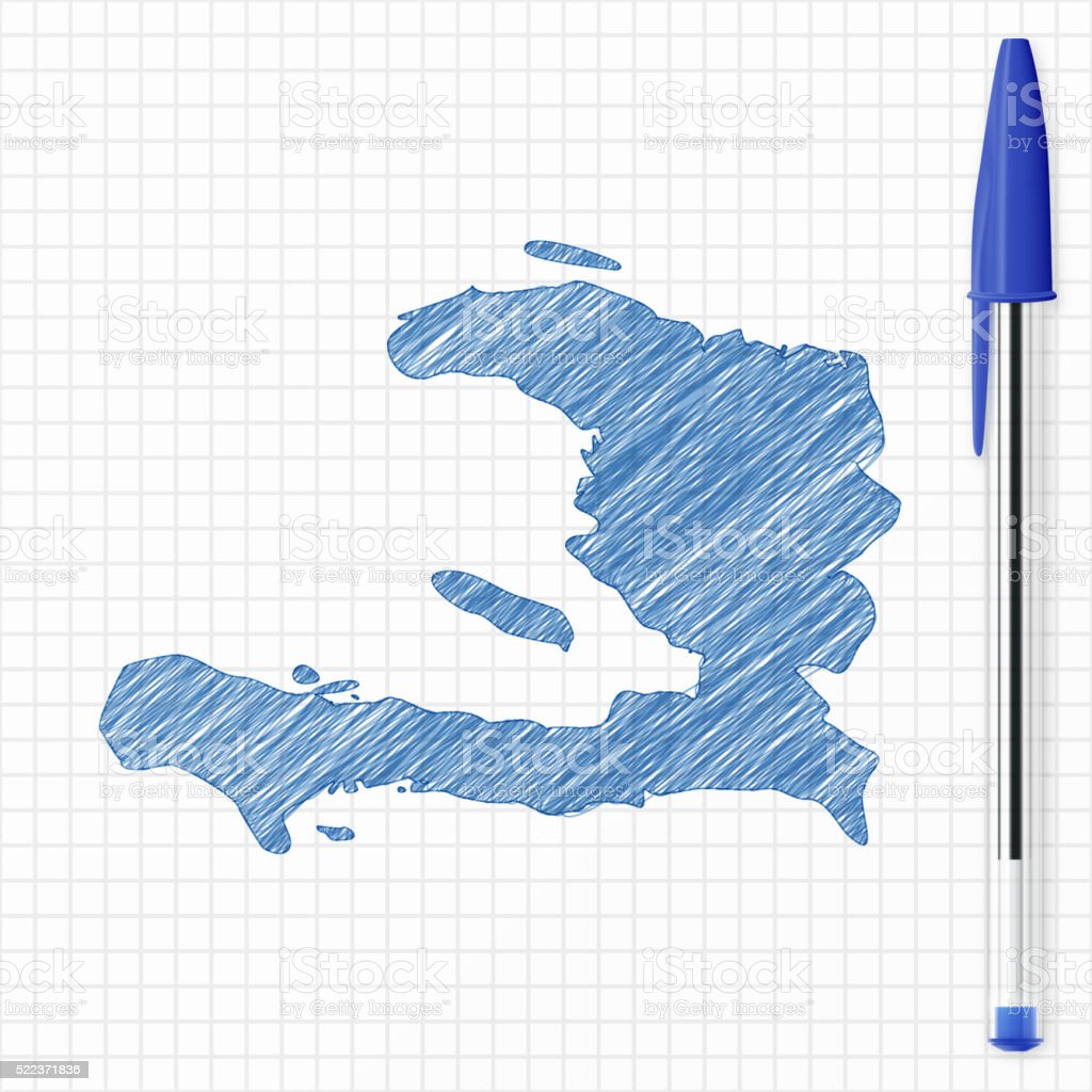 Haiti map sketch on grid paper, blue pen vector art illustration