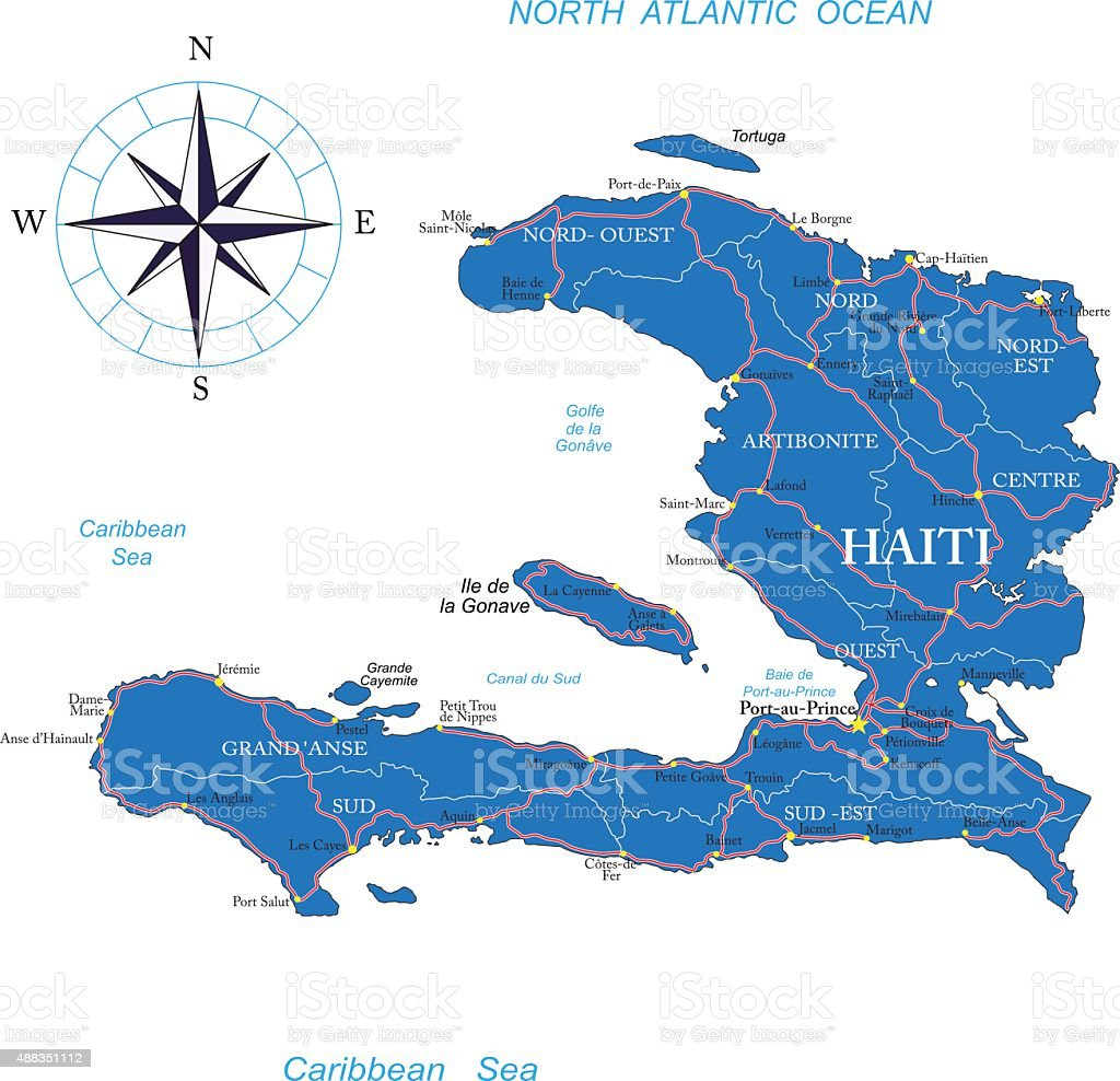 Haiti map vector art illustration