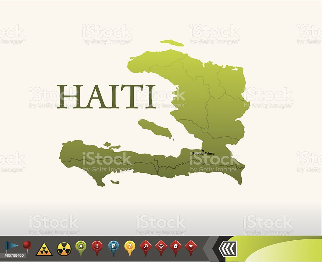 Haiti map with navigation icons vector art illustration
