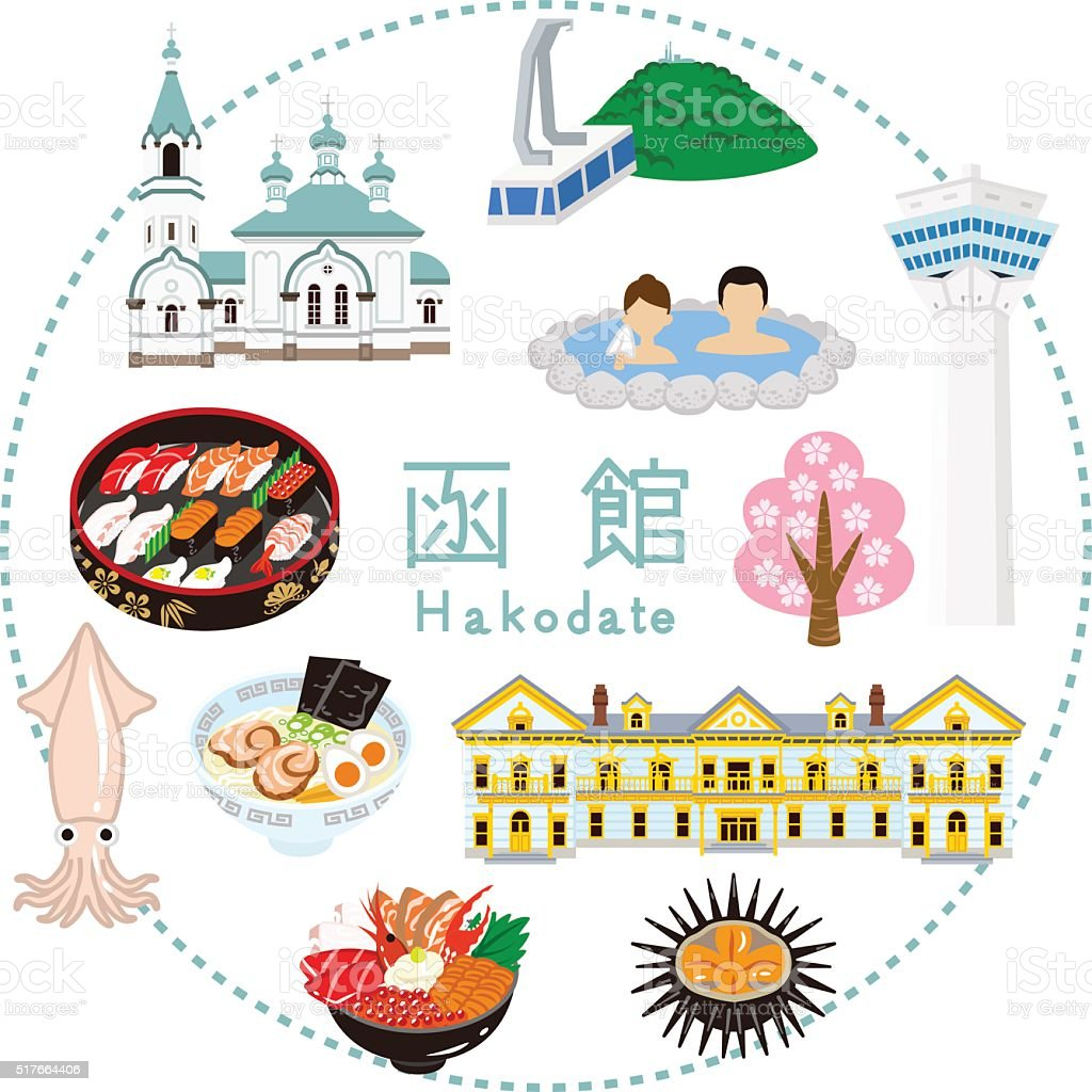 Hakodate Tourism -Flat icons vector art illustration