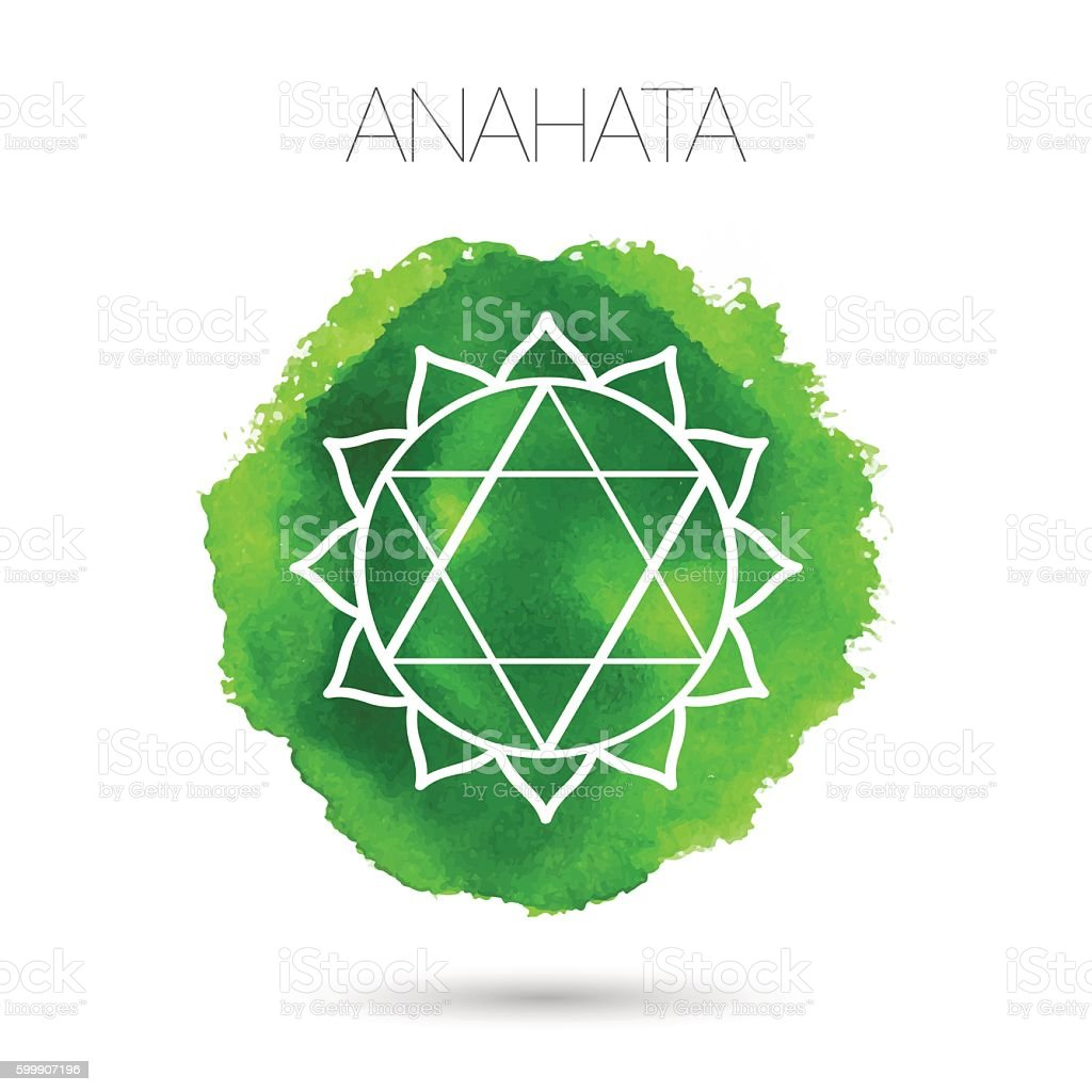 Сhakra - - Anahata. Watercolor hand painted texture. vector art illustration