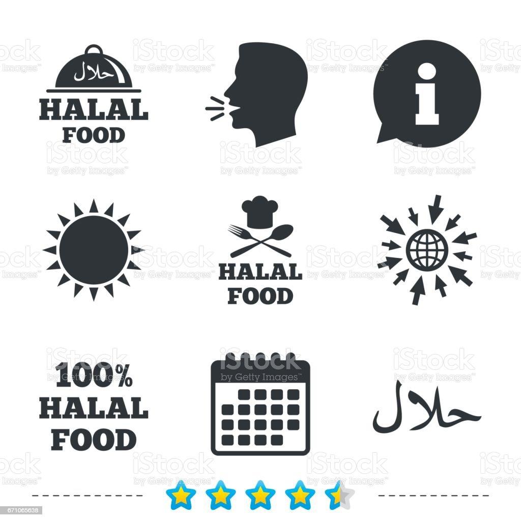 Halal food icons. Natural meal symbol. vector art illustration