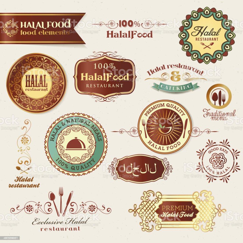 Halal food labels and elements vector art illustration