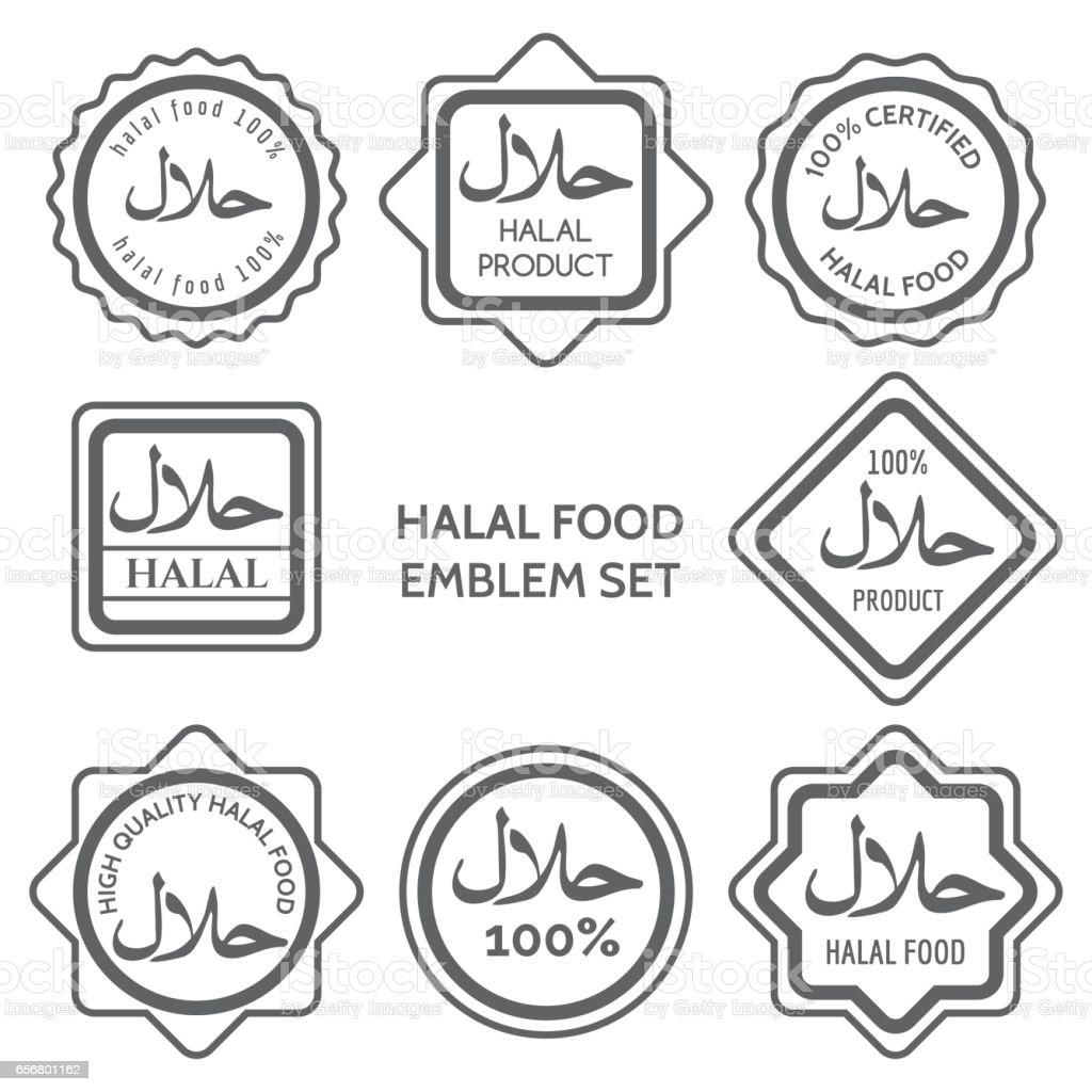 Halal food product labels vector art illustration