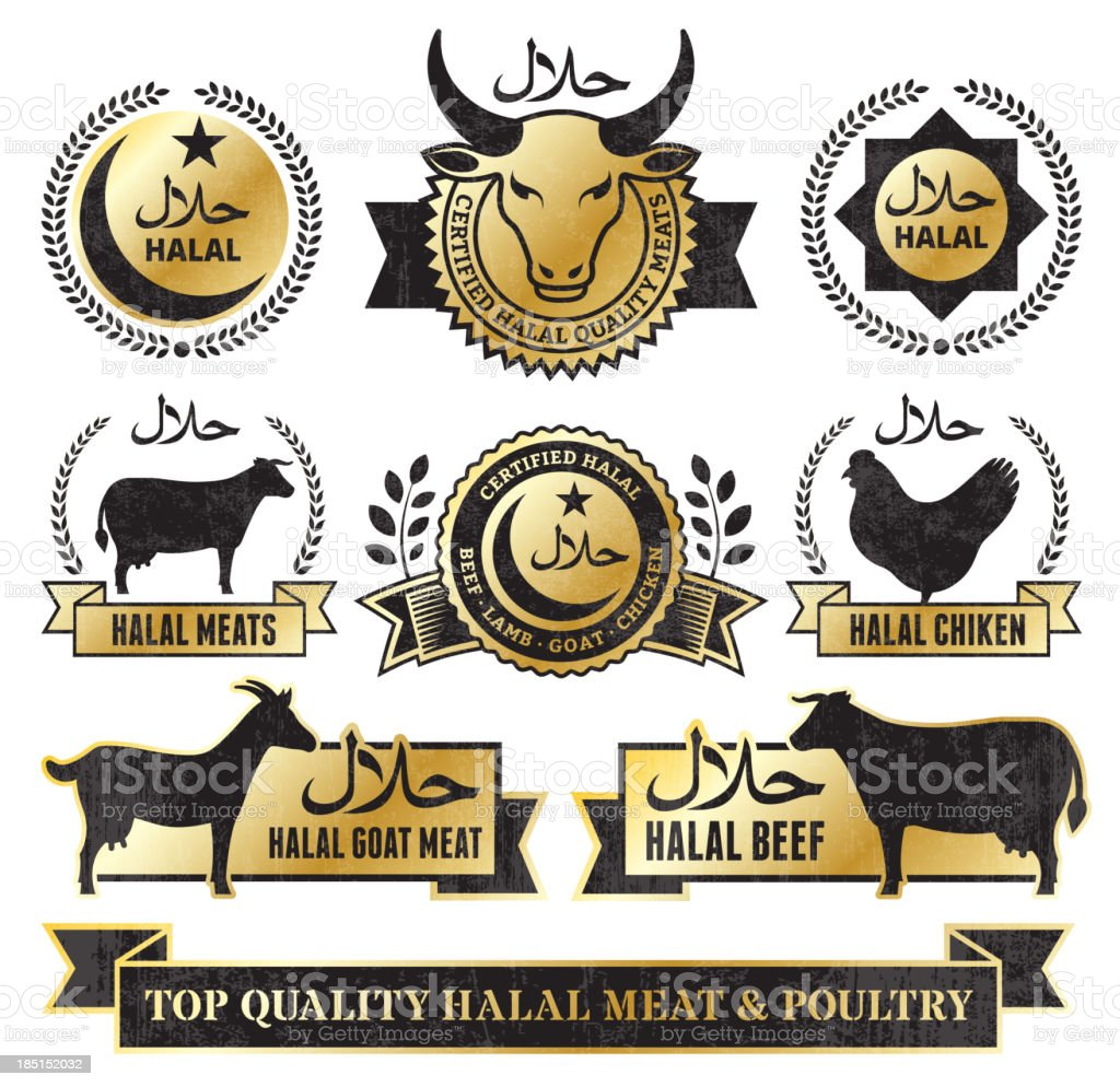 Halal Meat and Poultry Golden Grunge vector icon set vector art illustration