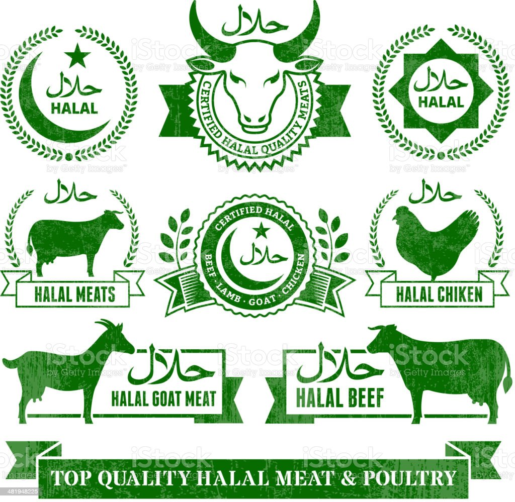 Halal Organic Meat and Poultry Grunge vector icon set vector art illustration