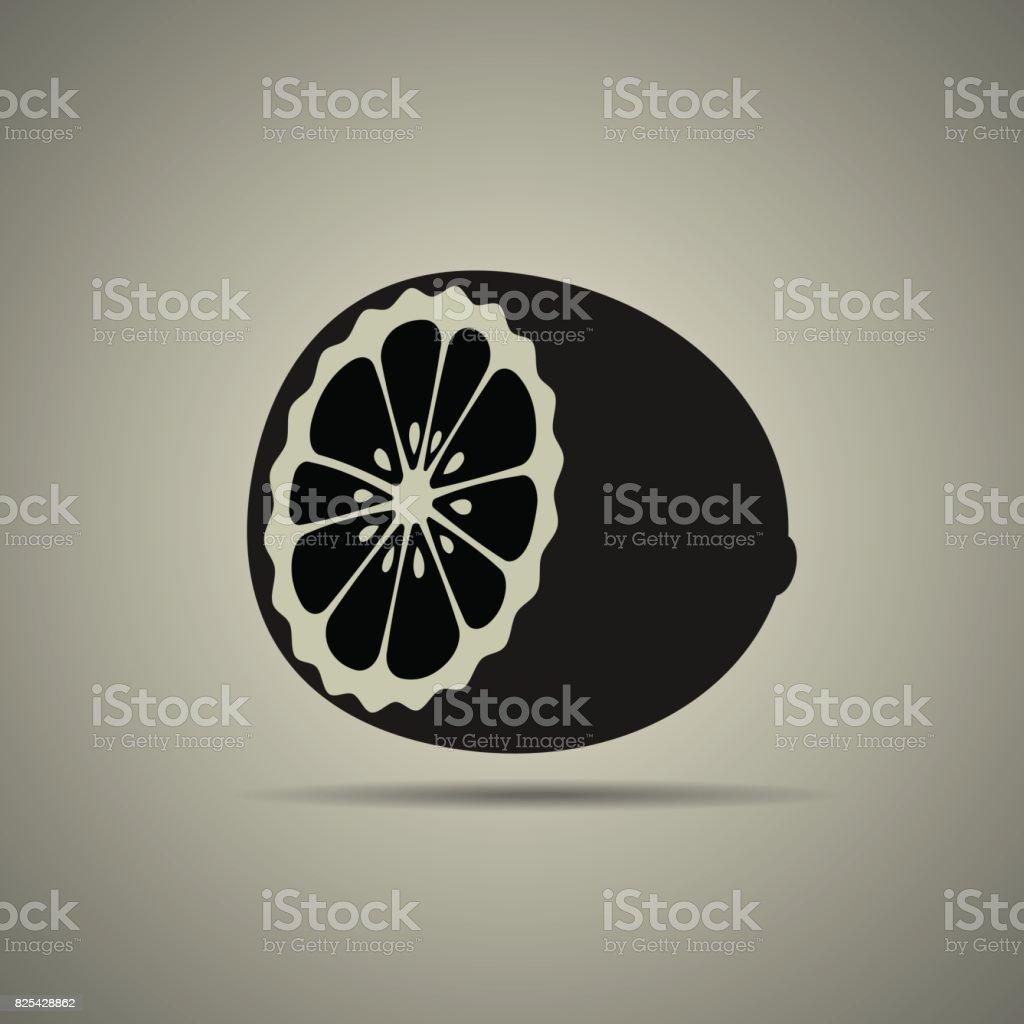 half a lemon icon vector art illustration