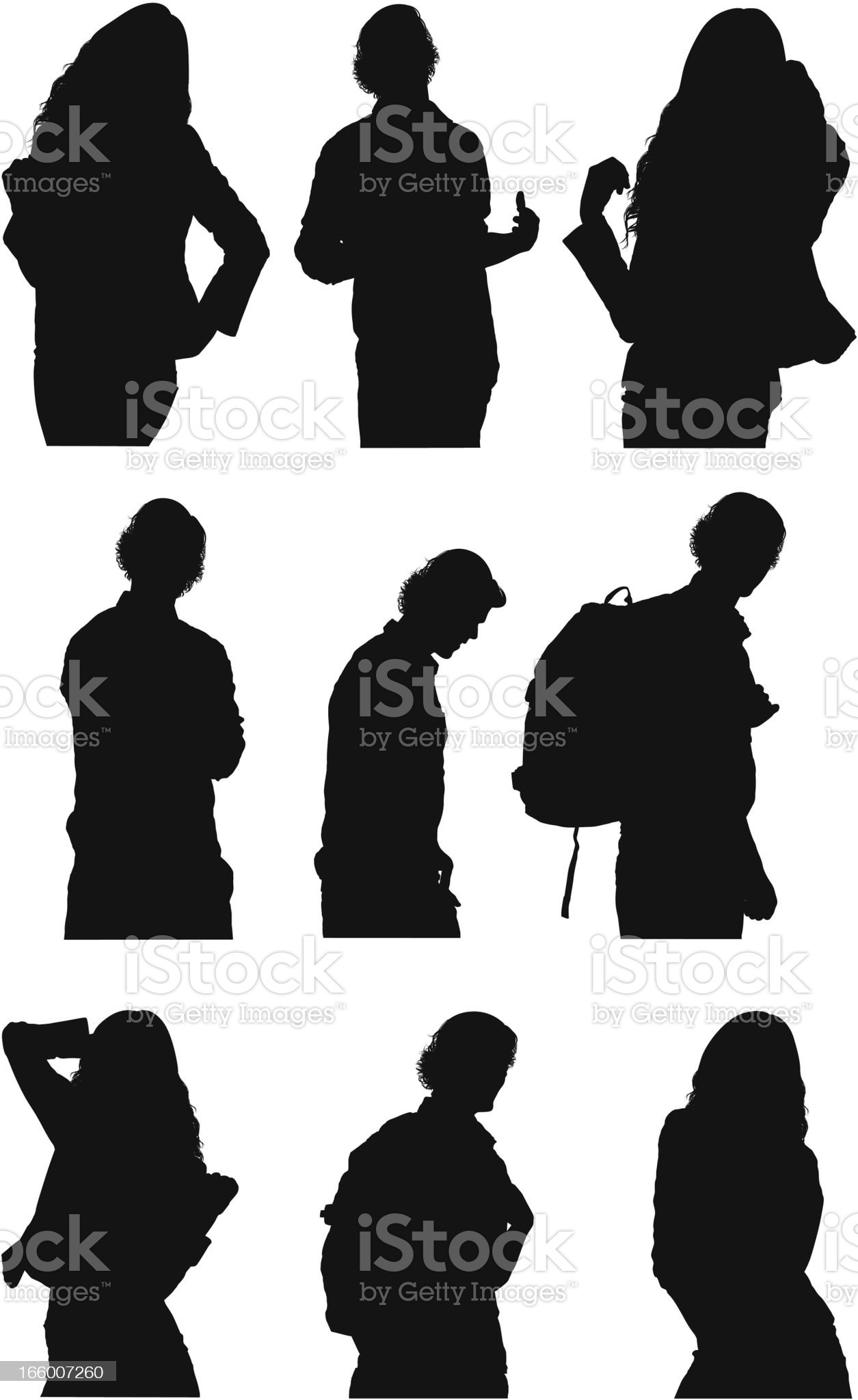 Half body silhouettes of men and women royalty-free stock vector art