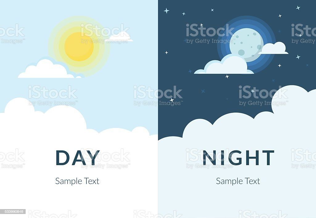Half day night of sun and moon with clouds vector art illustration