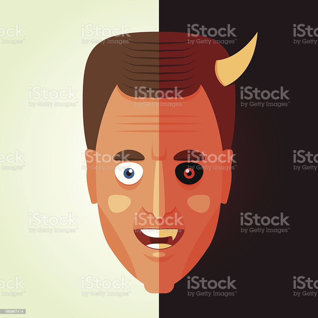 Half devil vector art illustration