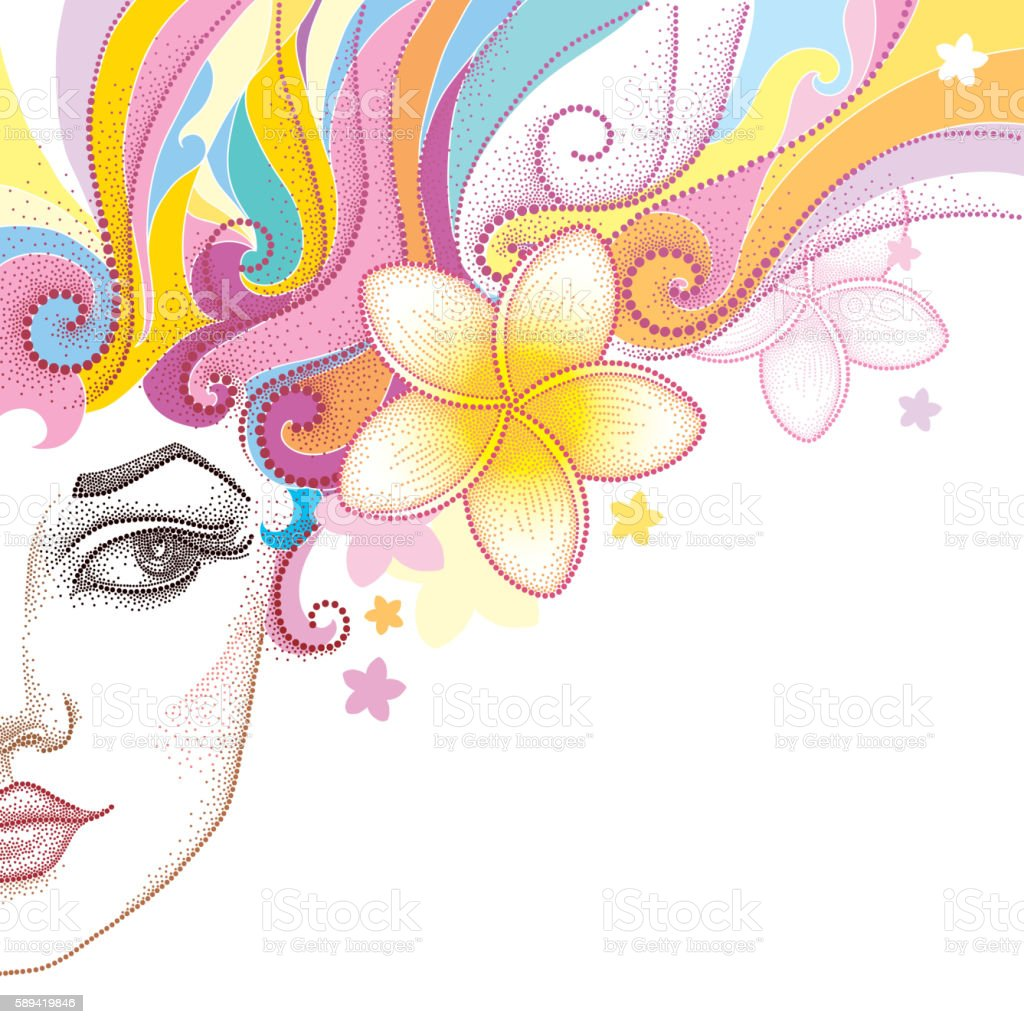 Half dotted beautiful girl face with Plumeria flower in hair. vector art illustration