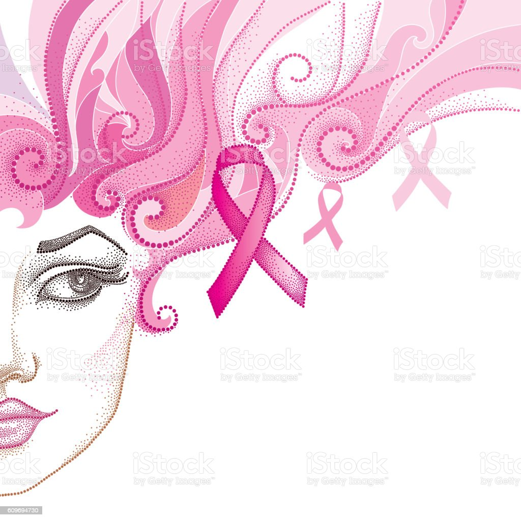 Half dotted girl face with pink ribbon isolated on white. vector art illustration