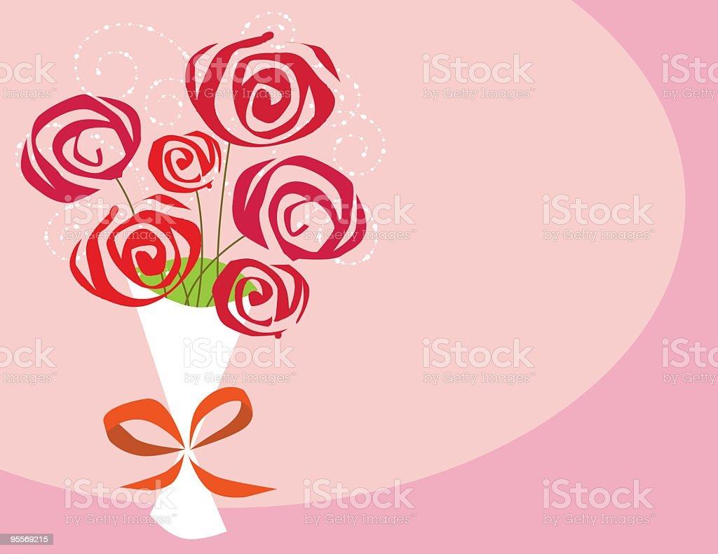 Half dozen of roses vector art illustration