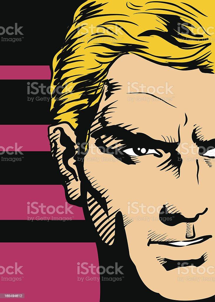 Half face of blond man vector art illustration