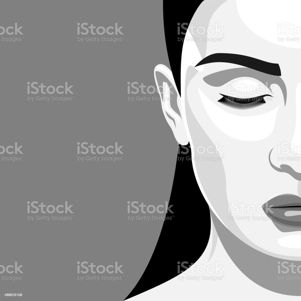 Half Face Portrait Beauty Woman with closed eyes vector art illustration