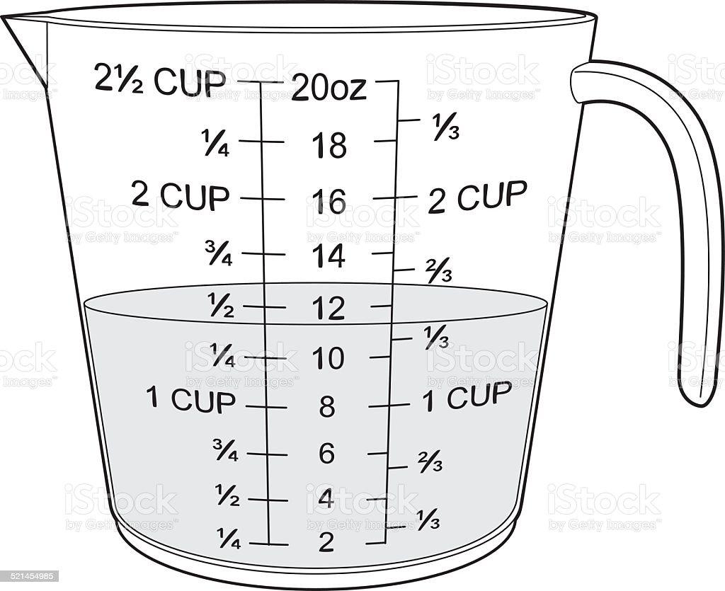 Half filled measuring cup vector art illustration