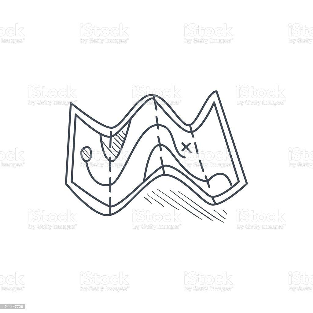 Half Folded Paper Map vector art illustration