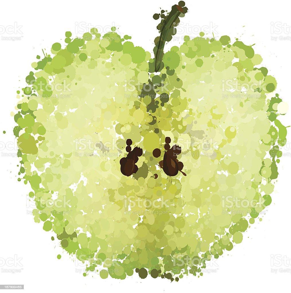 Meia maçã verde de blots vetor isolada vetor e ilustração royalty-free royalty-free