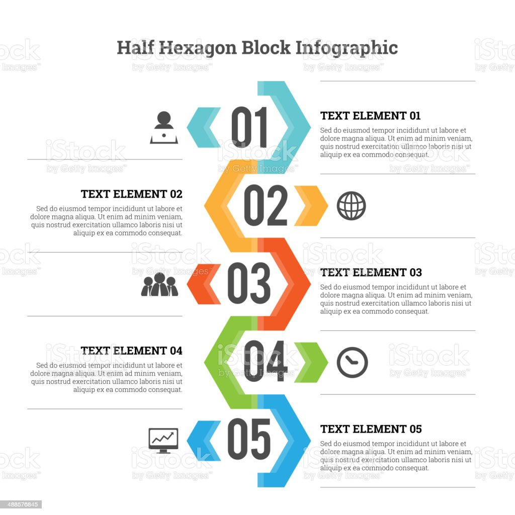 Half Hexagon Block Infographic vector art illustration