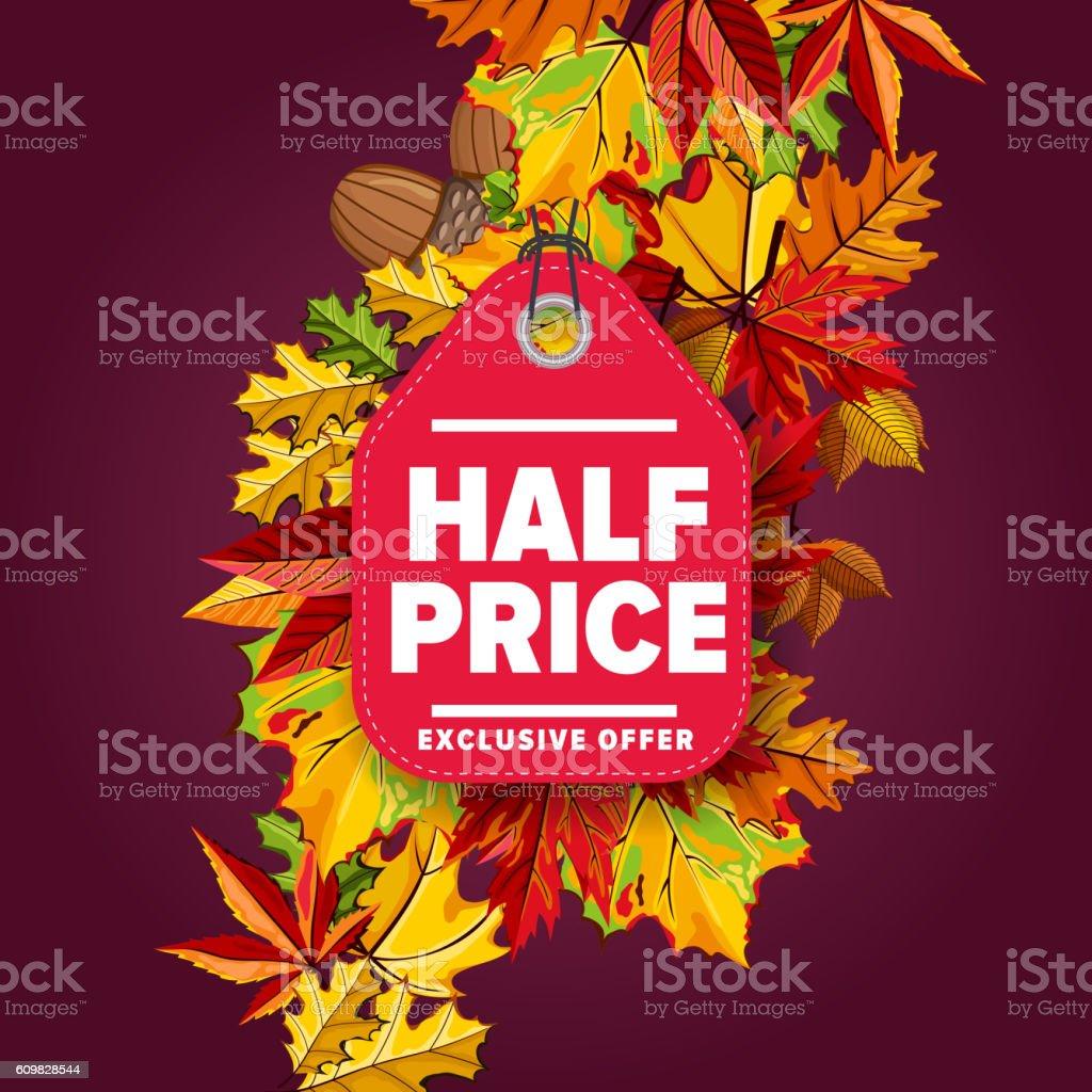 Half price label. Exclusive offer. vector art illustration