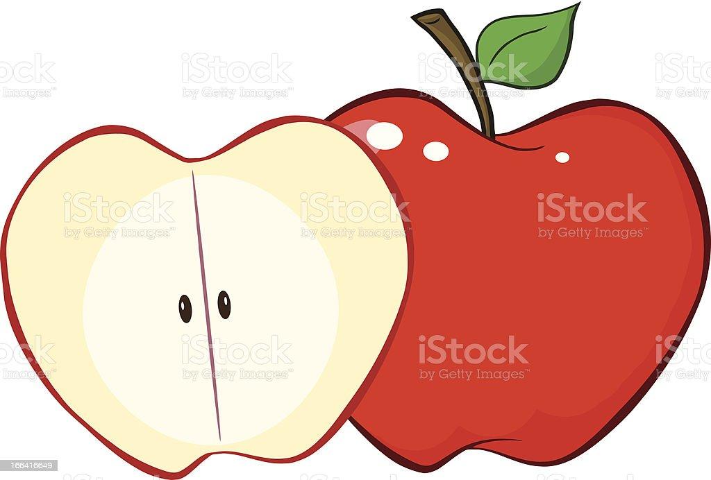 Half Red Apple royalty-free stock vector art